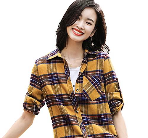 shirts 2021 Moda Mujeres Plaid Chic Checked Blusa Manga Larga Mujer Casual Impresión Suelta Algodón Tops Blusas Primavera Noticias
