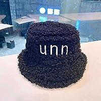 秋と冬の帽子の手紙刺繍帽子漁師の帽子学生カップル冬の暖かいファッション野生のネットレッドポットキャップ-黒_M(56~58cm)
