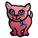 Ecusson - chat animal - rose - 5,3x7,0cm - patches brode appliques embroidery thermocollant