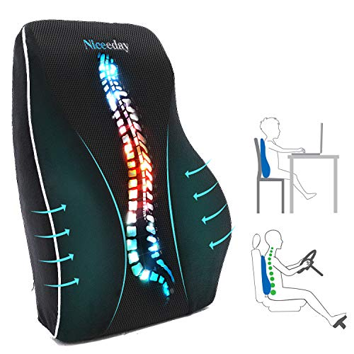 Lumbar Support Pillow for Office Chair Car Lumbar Pillow Lower Back Pain Relief Memory Foam Back Cushion with 3D Mesh Cover Gaming Chair Back Pillow Ergonomic Orthopedic Back Rest for Wheelchair