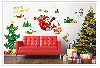 Amaonm® Set of 2 Sheets Xlarge Merry Christmas Santa Claus Christmas Tree Christmas Stockings Christmas Gifts Wall Decals Removable Wall Stickers Murals for Living Room Bedroom Shop Window