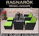 Ragnarök-Möbeldesign RAGNARÖK PolyRattan DEUTSCHE Marke - EIGENE Produktion - 8 Jahre GARANTIE Essgruppe Tisch mit 2 Stuhl & 2 Hocker Garten Möbel Glas Polster Apfelgrün Balkon Set...