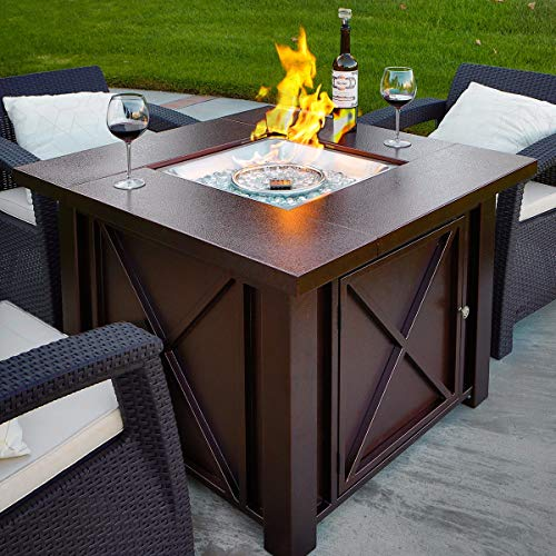 XtremepowerUS New LPG Fire Pit Table Outdoor...