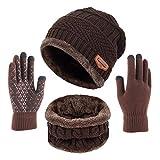 Kfnire bufanda del sombrero de los hombres, sombrero hecho punto invierno + bufanda con forro polar (03# café)