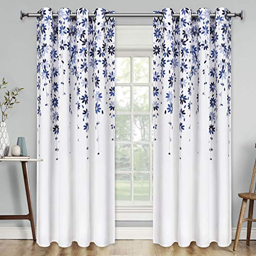 VERTKREA Flowers Window Curtain Floral Window Treatment Grommet Curtains 52 × 63 Inches Flower Drapes for Bedroom Living Room, Blue, Set of 2 Panels
