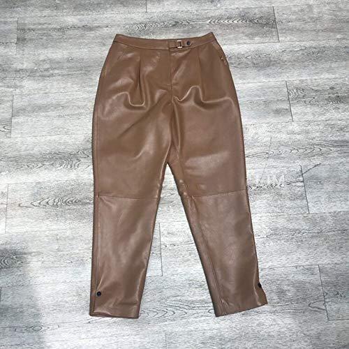 IHCIAIX Damen Lederhose,Damenhose, Ledermode Leder Crop Jeans Haremshose, braun, XXL