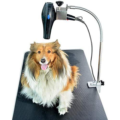 Gaxyd Soporte para Secador De Pelo Manos Libres, Tarea Pesada Peluquería Canina Soporte para Secador De Pelo De Mesa con Abrazadera De Montaje, Acero Inoxidable Ajustable Tercer Brazo