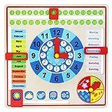 Tooky Toy Holz Jahresuhr für Kinder Lernuhr mit der Ihr Kind spielend leicht die Uhr, Wochentage, Monate, Jahreszeiten und Wetter erlernen - ca. 29,5 x 29,5 x 5 cm geeignet ab 36 Monaten (Deutsch)