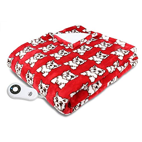 Serta Shiny Sherpa Electric Heated Warming Throw Blanket Dogs Red -  476-202-04-75-120