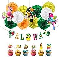 パーティーの装飾 13個の夏のパーティーの装飾トロピカルバードセットハンギングハニカムペーパーファン誕生日の子供の日の装飾のためのカップケーキトッパー