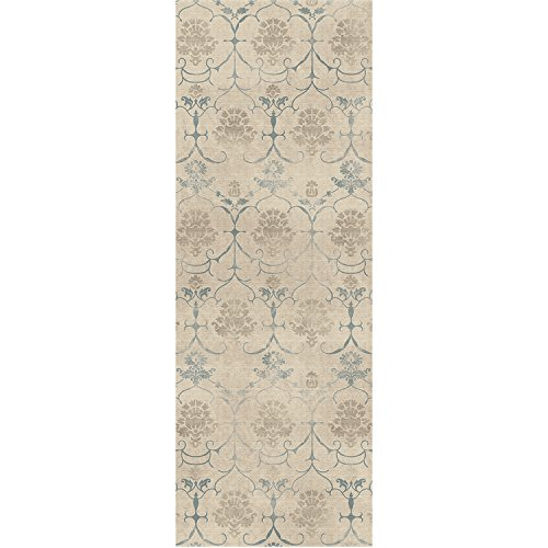 "RUGGABLE Leyla Crème Vintage Washable Indoor/Outdoor Stain Resistant 2.5'x7' (30""x84"") Runner Rug 2pc Set (Cover and Pad)"