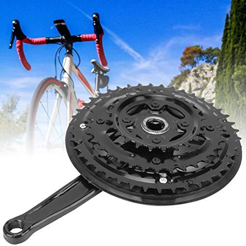 Qqmora No es fácil de deformar Juego de bielas de Acero con Alto Contenido de Carbono 24-34-42T Juego de bielas de Bicicleta de Carretera, para Bicicleta de montaña de Velocidad Variable, para