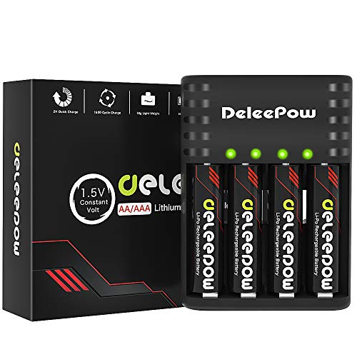 Deleepow Rechargeable AA Batteries Lithium 1.5V 3400mWh, 1500 Cycles Rechargeable Lithium AA Batteries with 2H USB Fast Charger
