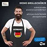 MoonWorks Grill-Schürze für Männer Fußball WM 2018 Deutschland Germany Flagge Vintage Baumwoll-Schürze Küchenschürze schwarz Unisize - 2