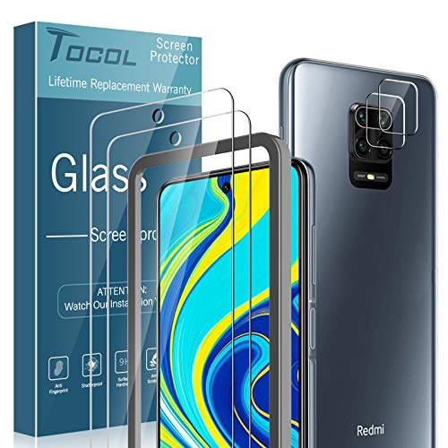 TOCOL 4 Piezas Protector de Pantalla para Redmi Note 9s/Note 9 Pro...