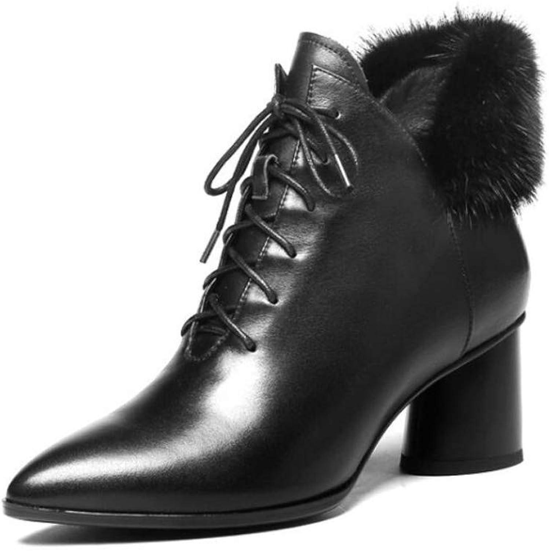 Zxcer Herbst und Winter Frauen Leder high Heel Dicke Ferse Stiefel wirklich Mhne Frauen Stiefel wies warme Stiefel schwarz Spitze Frauen Schuhe