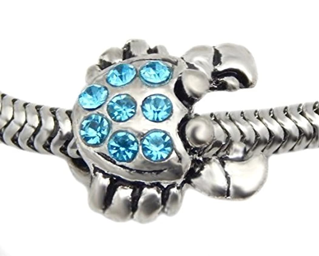 J&M Crab with Aqua Crystal Charm Bead for Bracelets