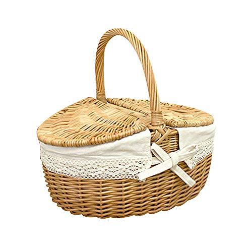BYHUACN Cestas de mimbre de picnic con tapa y asa, cesta de mimbre para camping con doble tapa para llevar alimentos al aire libre
