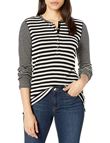 Chaps Women's Long Sleeve Alpine Waffle-Knit Henley Shirt, Black/Heritage Cream, M