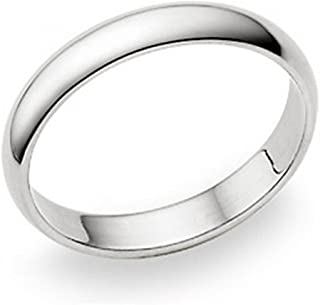 4MM Sterling Silver High Polish Plain Dome Tarnish Resistant Comfort Fit Wedding Band Ring