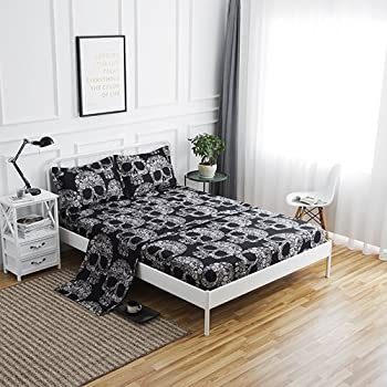 SDIII 4PC Black and Cream Skull Bed Sheets Microfiber Queen Skeleton Bedding Sheet Sets with Flat Sheet Fitted Sheet and Pillowcase