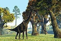 Assanu 7×5フィートジュラ紀時代恐竜背景林木と写真撮影のための山背景ブラキオサウルス背景スタジオの小道具