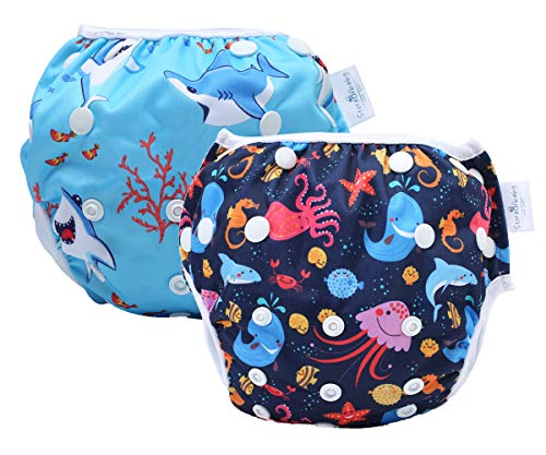 storeofbaby Water Diapers 0-3 Years Premium Swim Nappy for 0-36lbs Baby Boys Girls Blue Navy