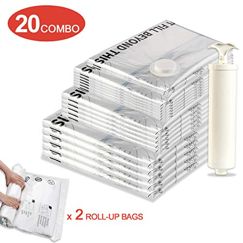 Jancosta 20 Combo Space Saver Bags, 20 Pack [2 Small, 6 Medium, 5 Large, 5 Jumbo,2 Compression bags] Vacuum Storage Bags for Clothes (20 Combo)