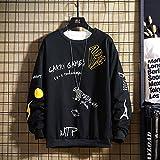 Outwear Hoodie,Suéter Estampado de Talla Grande de Moda de Moda, Sudadera con Capucha de Primavera y otoño de Manga Larga para Hombres-Negro_L,Hoodie Casual Jerséis