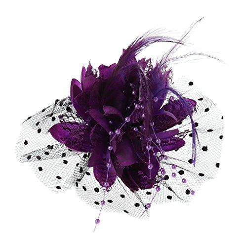Niumanery Women Bridal Mesh Bow Feather Beads Wedding Fascinator Dot Veil Hair Clip Brooch Purple