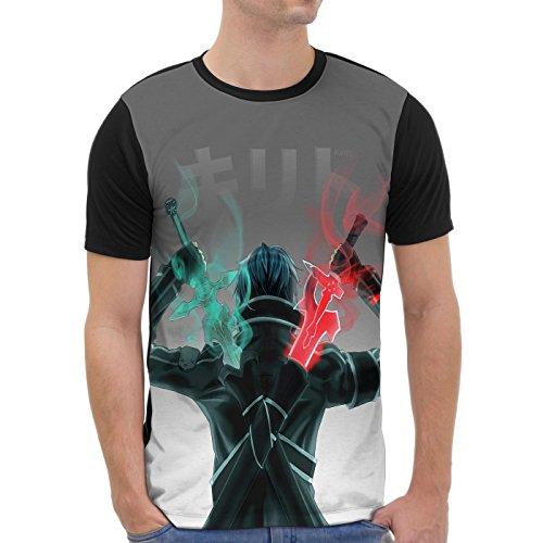 VOID Kirito Grafik T-Shirt Herren All-Over Druck Anime Sword Schwert, Größe:XXL