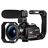 Ordro HDR-AC5 4K Camcorder Optical Zoom Ultra HD Video Camera Vlogging Camera for YouTube,12x Optical Zoom 3.1' IPS Touchscreen 1080P 60FPS WiFi Vlog Recorder