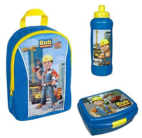 Familando Rucksack Set Bob der Baumeister 3tlg. mit Brotdose und Trinkflasche z.B. für den Kindergarten / Krippe Bagger BODP7631