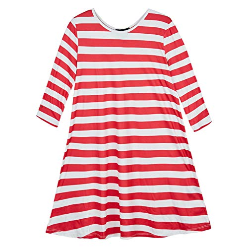 Amy Byer Girls' Cute Ugly Christmas Sweater Style Dress, Candycane Stripe, Large
