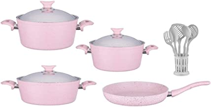 Turkish Granite Cookware Set 13 Pcs with Service Set - Steel Lids - Pink