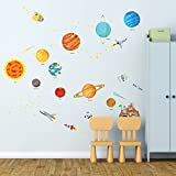 DECOWALL DW-1501S El Sistema Solar Vinilo Pegatinas Decorativas Adhesiva Pared Dormitorio Salón Guardería Habitación Infantiles Niños Bebés (Medio) (English Ver.)