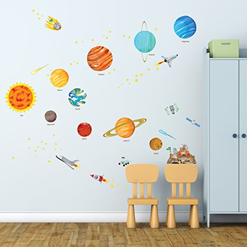 DECOWALL DW-1501S El Sistema Solar (Medio) (English Ver.) Vinilo Pegatinas Decorativas Adhesiva Pared Dormitorio Saln Guardera Habitaci Infantiles Nios Bebs