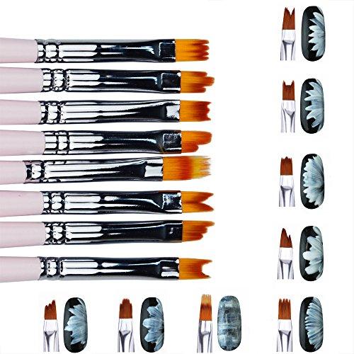 Artlalic Lot de 8 pinceaux pour nail art en acrylique en forme de lune souriante pour vernis à ongles gel UV