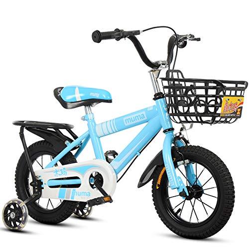 Meisjesfiets voor 2-9 jaar oud 12 14 16 18 inch fiets met steunwielen, spannend cadeau-idee voor kinderen met mand en achterkant, blauw, 18 inch