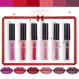 Luckyfine 6 pezzi rossetto liquido opaco di lunga durata impermeabile kit rossetto trucco impermeabile rossetto (Vegan)