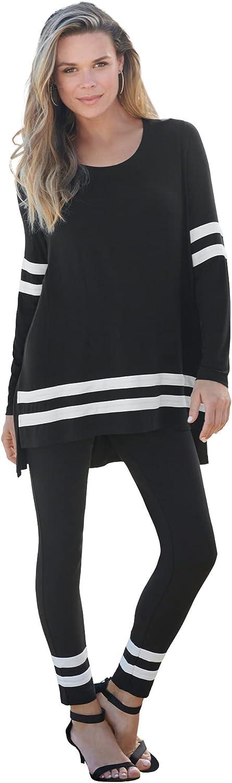 Roamans Women's Plus Size Mesh Colorblock Lounge Set Matching Long Sleeve Shirt and Leggings