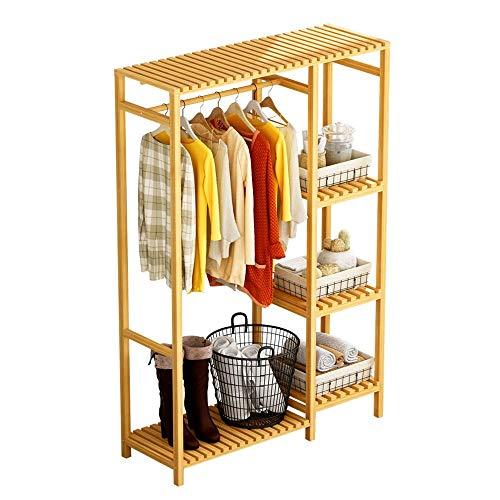 COLiJOL Perchero Perchero Independiente para Ropa, Armario Organizador de Telas de Bambú con Estantes de 4 Niveles para Dormitorio Interior