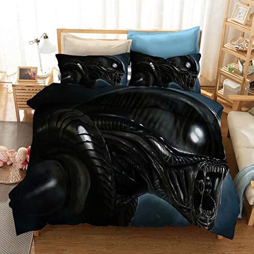 Alien Vs Predator Bedding Set Microfiber Science Fiction Film Duvet Cover Sets 3 Pieces Horro Movie Bed Set Full Size, Pattern 1