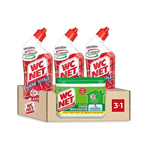Wc Net - Fosse Biologiche, Capsule Idrosolubili per WC, 12 Caps + Igiene Totale Gel Disinfettante 5 Azioni, Pulitore Liquido per Wc, 700 ml x 3 Pezzi