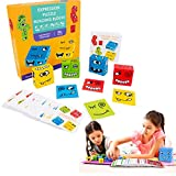 SANHAN Puzzle Building Cubes,Face-Changing Building Blocks for Children,Wooden Expressions Matching Block Puzzle Educational Games Toy (Yellow Box)