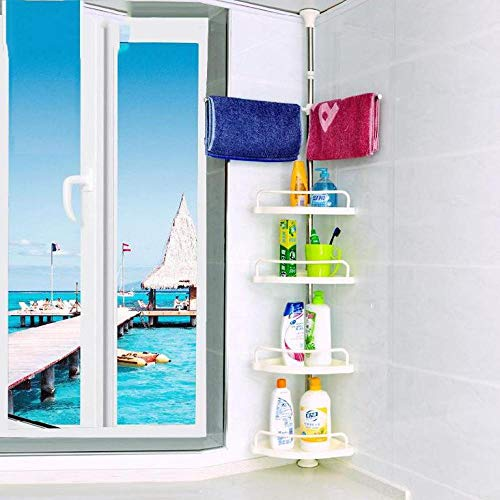 Bathroom Shower Storage Corner Caddy Tension Pole, 4-Tier Bathtub Caddies Shelf Rod Organizer Rack With Towel Bar