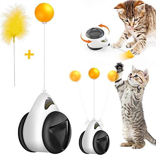 NIBESSER Interaktives Katzenspielzeug mit Ball und Federn Balance Schaukel Katzen Spielzeug mit Katzenminze, Katzenball, Spielzeug für Katzen, kätzchen
