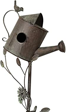MOCOME Metal Birdhouse Stake for Outdoor with Pole Stand Distressed Decorative Watering Can with Flower, Garden Bird House fo