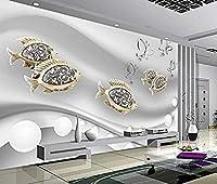 Pwmunf 壁画ジュエリー ホワイトボール ゴールド 魚 蝶 3D 壁紙 壁画 壁装飾 3D 壁画 3D 壁画 500X360Cm