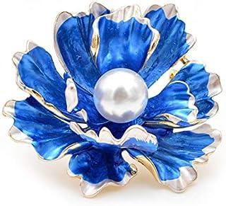 Broches de peonía esmaltados para mujer Broches grandes de flores de boda-Azul